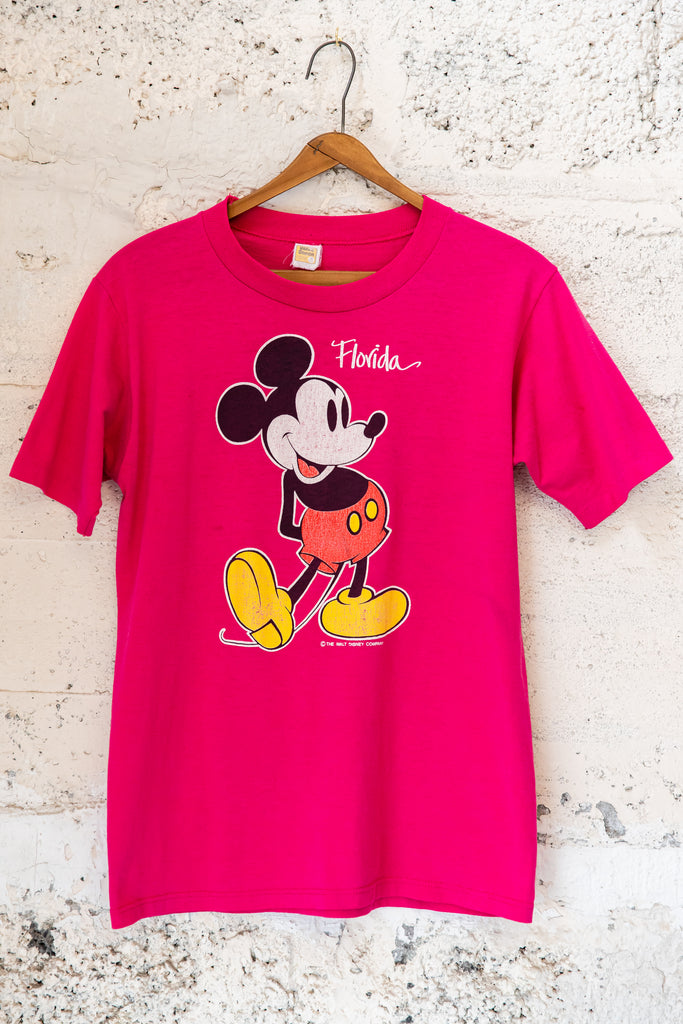 1980's, Vintage, Pink Mickey Mouse The Walt Disney Company, Velva Sheen, Florida, T-Shirt (Women's Medium)