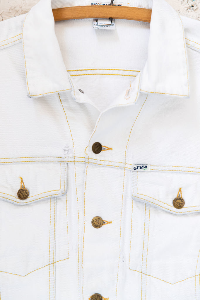 1980's, Vintage, White George Marciano for GUESS, Denim Jacket, made in U.S.A. (Men's Large)