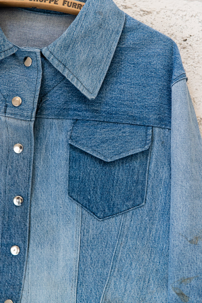 Vintage, Handmade Medium Wash, Up-cycled Patchwork, Denim Jean Jacket (Men's Small)
