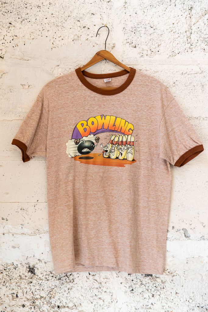 1976, Vintage, ''Iron on Print ''Bowling, Ringer T-Shirt (Mens Medium)