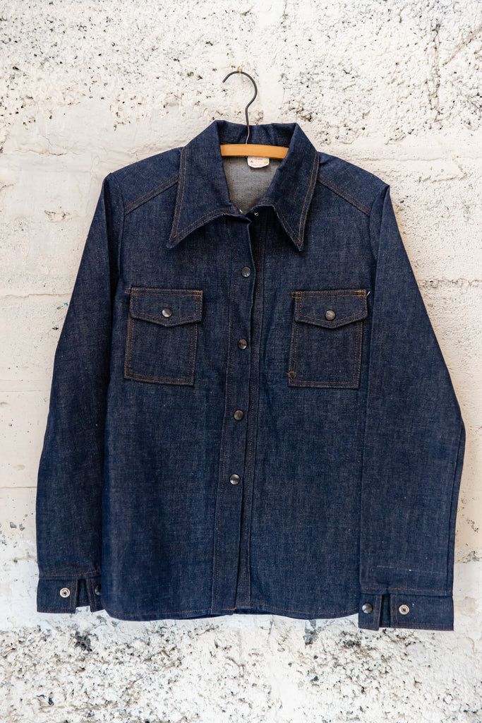 1970's, Vintage, Le Mans, Dead stock, Raw Denim, Made in Canada, Denim Jean Jacket (Men's Medium)