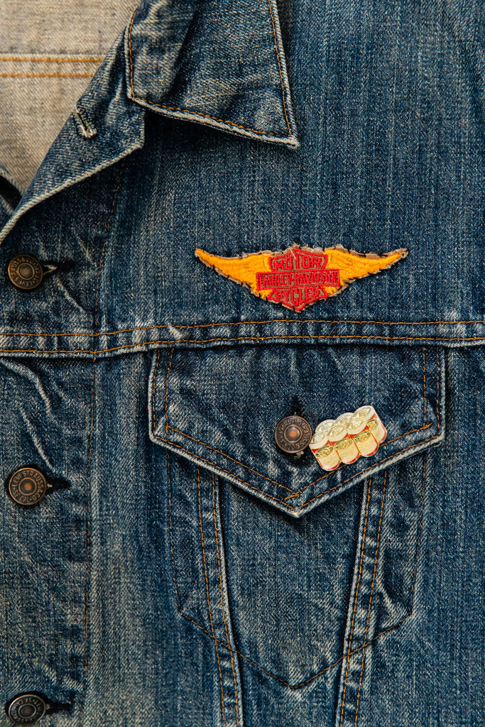 1970's, Vintage, LEVI'S Big E, Customized Motorcycle, Harley-Davidson, Budweiser, Astrology, Military, Denim Jean Jacket Vest. Men's Medium