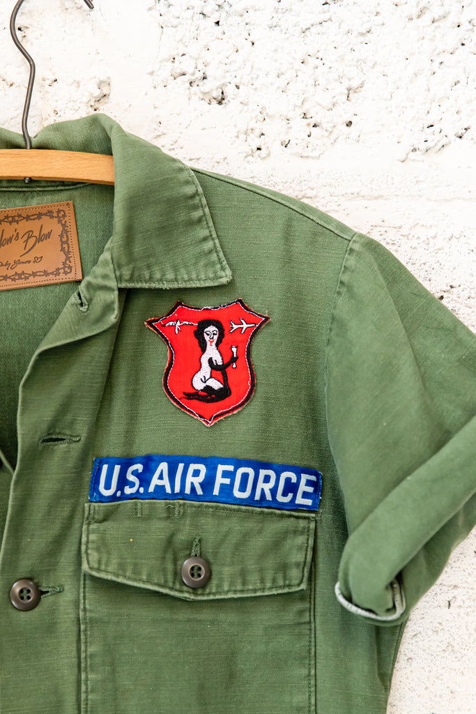 Customized & Reworked Military button up -Vintage Patches, Quebec Air patch, US Airforce Patch, Labatt Patch