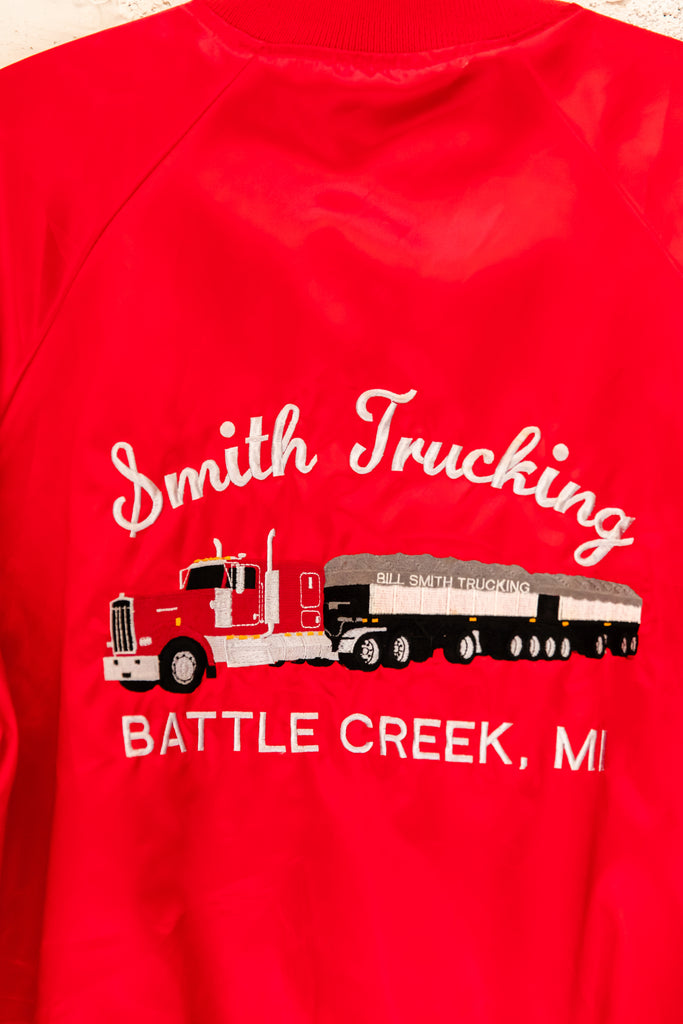 1980's, Vintage, Smith Trucking, Battle Creek MI, Satin, Bomber, Jacket (Men's Medium)
