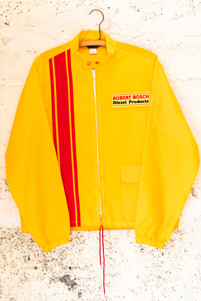 1980's Vintage, Gas Station Diesel  products Robert Bosch yellow and red stripe, Windbreaker Jacket (Men's Medium)
