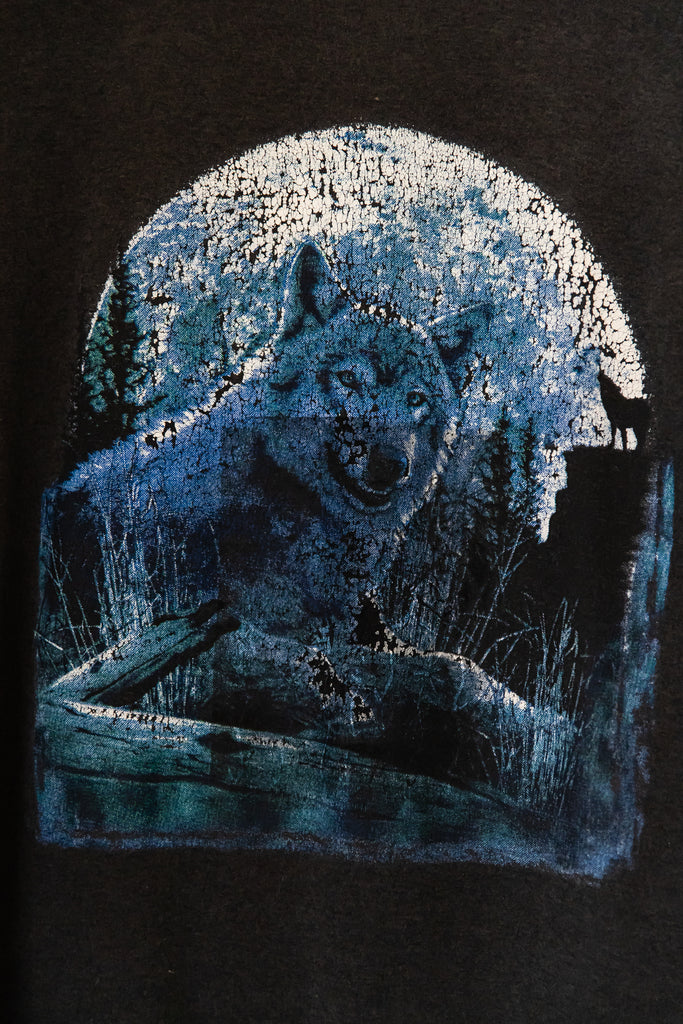1990's, Vintage, Wolf in the moonlight, T-Shirt (Men's Medium)