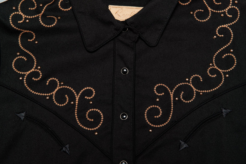 Vintage Scully cross studded embroidered black western shirt
