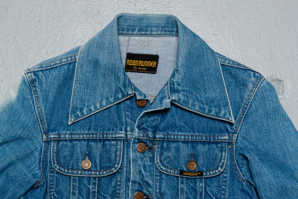 1970's Vintage Road Runner Denim Jean Trucker Jacket