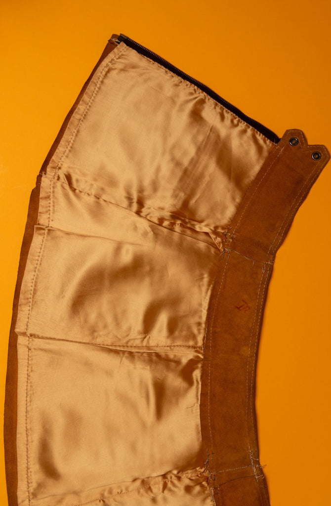 1960's Vintage Gogo Camel Brown Suede Mini Zip up Skirt (women's XS - w25)