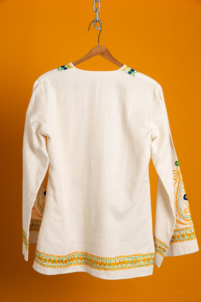 Vintage Muslin Cotton Peasant Boho embroidered Chain Stitch Tunic shirt (One Size or women's Medium)