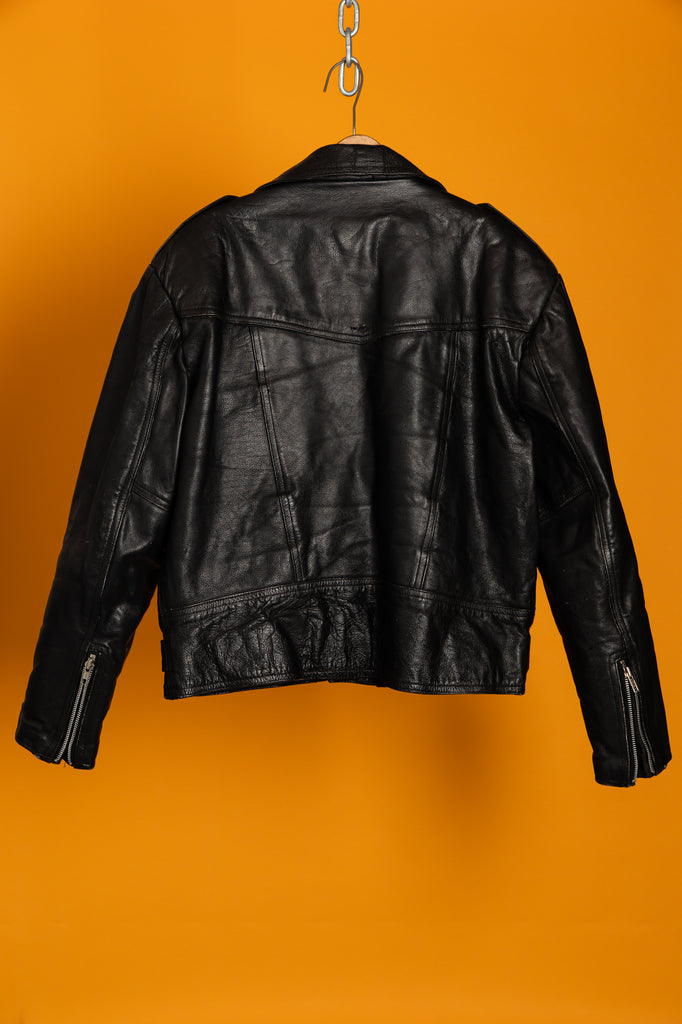 1990's Vintage Classic Black Leather Moto Biker JACKET (Men's Small)