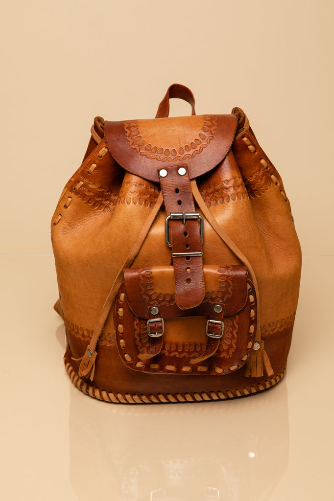 Vintage Handmade Tooled Leather Bag Backpack Made in Mexico