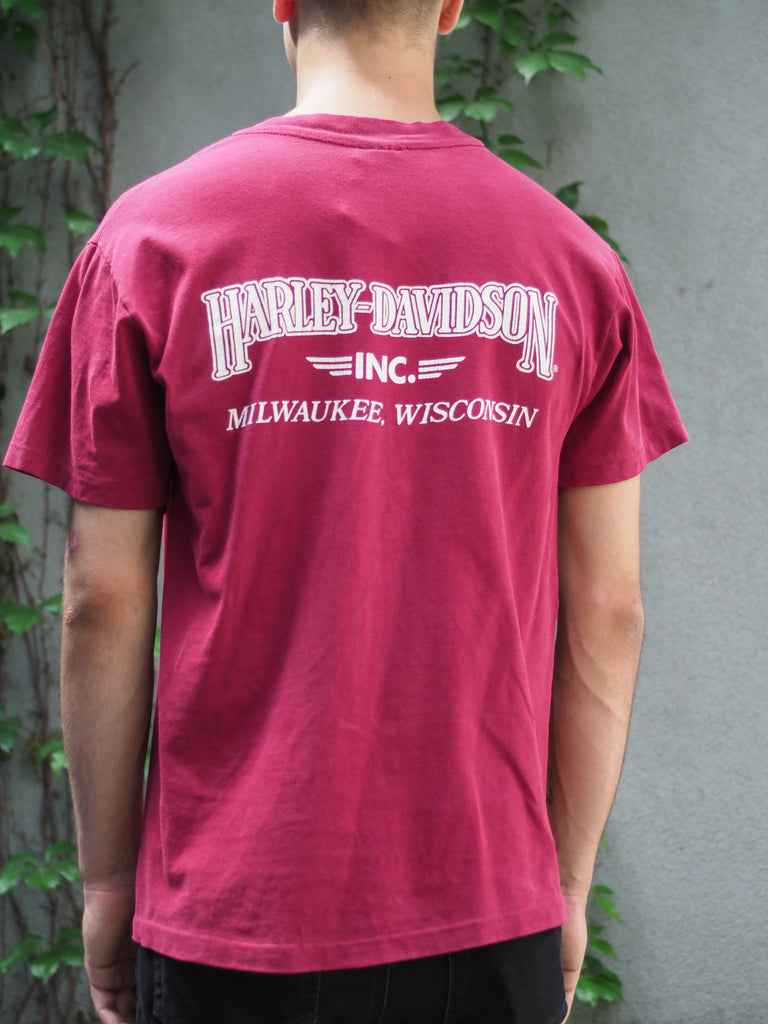 90's, Vintage, Harley Davidson, Milwaukee, Wisconsin,Knucklehead, Panhead, Shovelhead, World Class Engines, burgundy, single stitch, T-shirt, (men's Small)