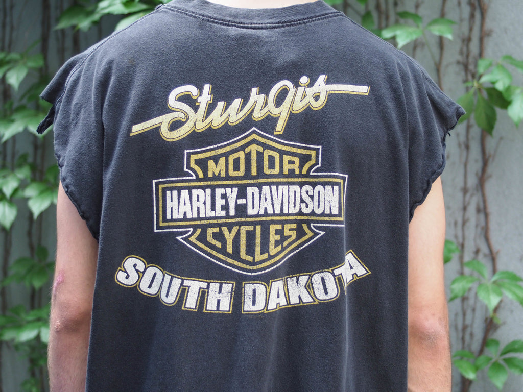 90's, Vintage, Harley Davidson, Sturgis, Black Hill, Rally '98, South Dakota, Bison, Distressed, Sleeveless, T-shirt, (men's Large)