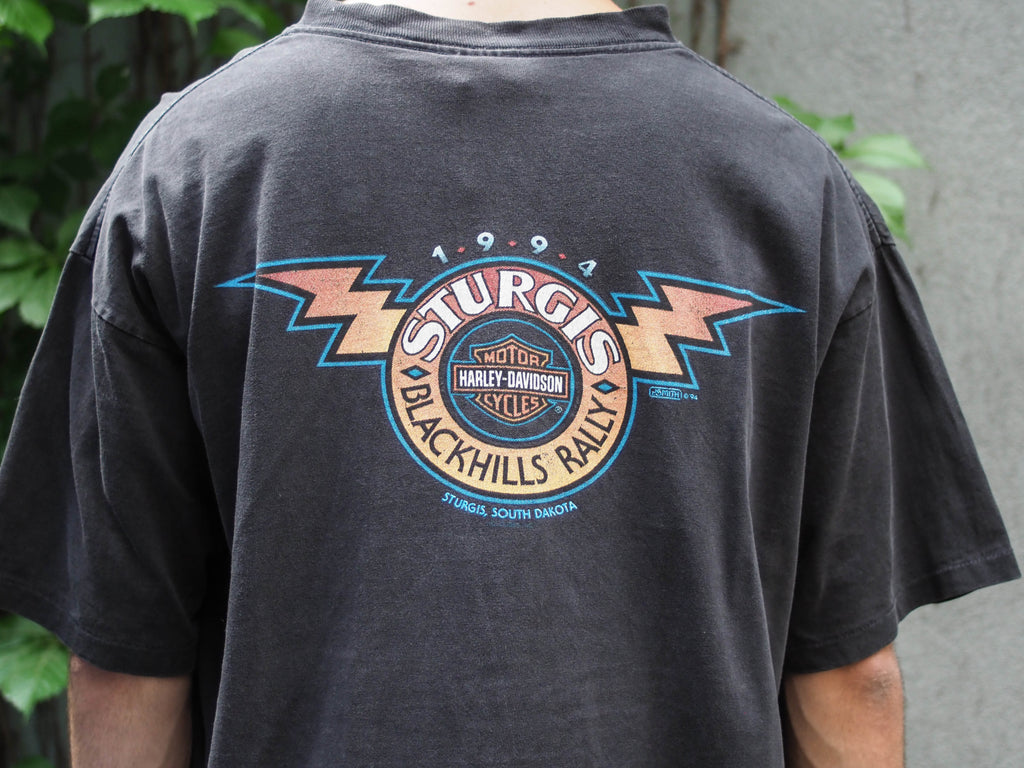 90's, Vintage, Harley Davidson, Sturgis, Black Hills, Bull Skull, motorcycles, South Dakota Rally 1994, Single Stitch, T-shirt, (men's Large)