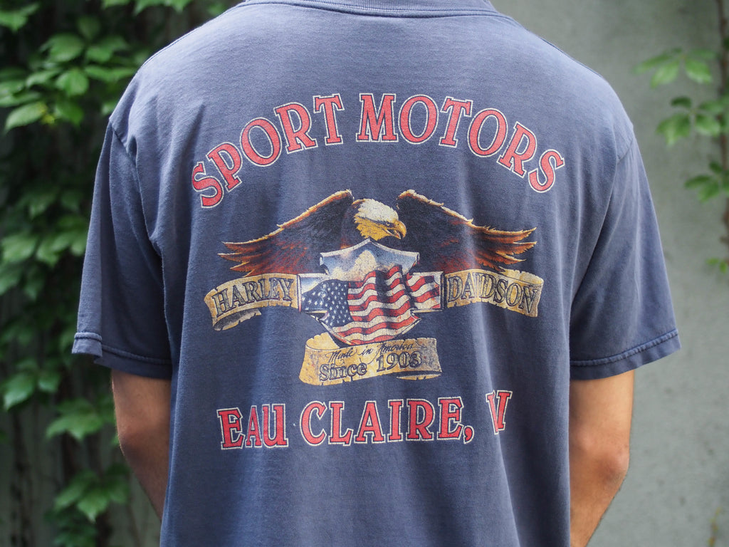 90's, Vintage, Harley Davidson, Eau Clair, Wi, American Eagle, 40's inspo, Retro, War years, Blue, T-shirt, (men's Medium)