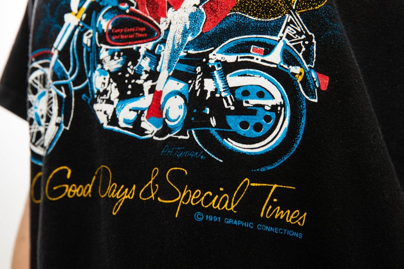 Vintage, 1st Ridin' For a Reason '91, Harv's, Macedon, New York, T-shirt