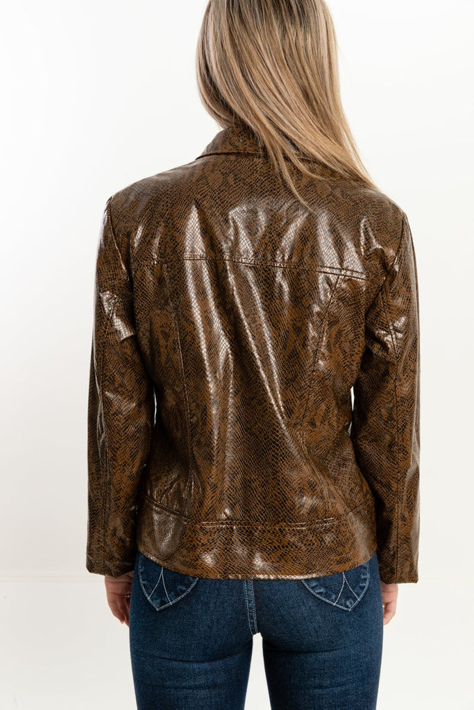 90's, Vintage, Faux Snake Skin, Brown, Jacket, (Women's Medium)