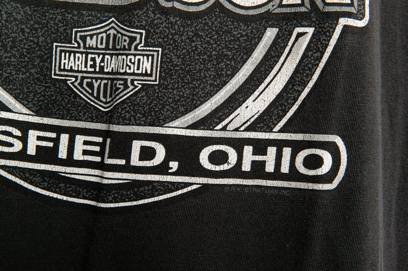 90's, Vintage, Harley-Davidson, Mainsfield, Ohio, Single Stitch, T-Shirt (Men's Large)
