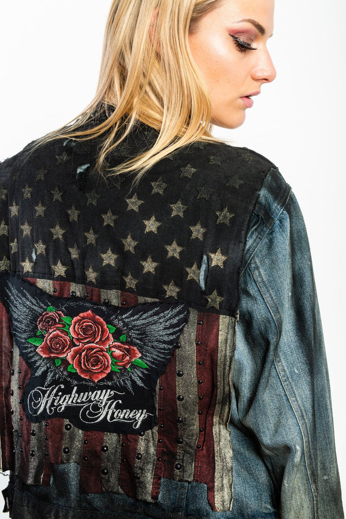 Highway Honey Trashed X Ralph Lauren, American Flag, Biker, Jean Jacket (One of a kind & One size)