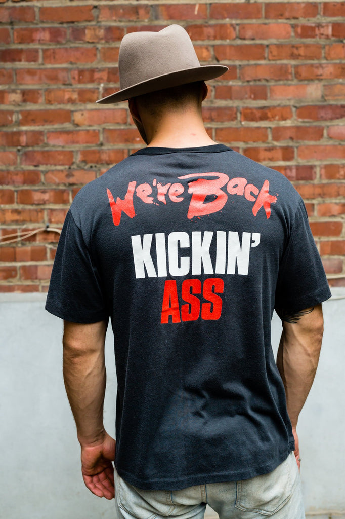 Vintage 80's Bon Jovi  We're Back Kickin' Ass t-shirt - Men's Medium