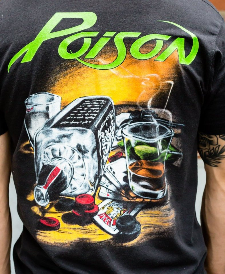 80's, Rare, Vintage,Poison, Band Tee ,single stitch, t-shirt (Men's Medium)