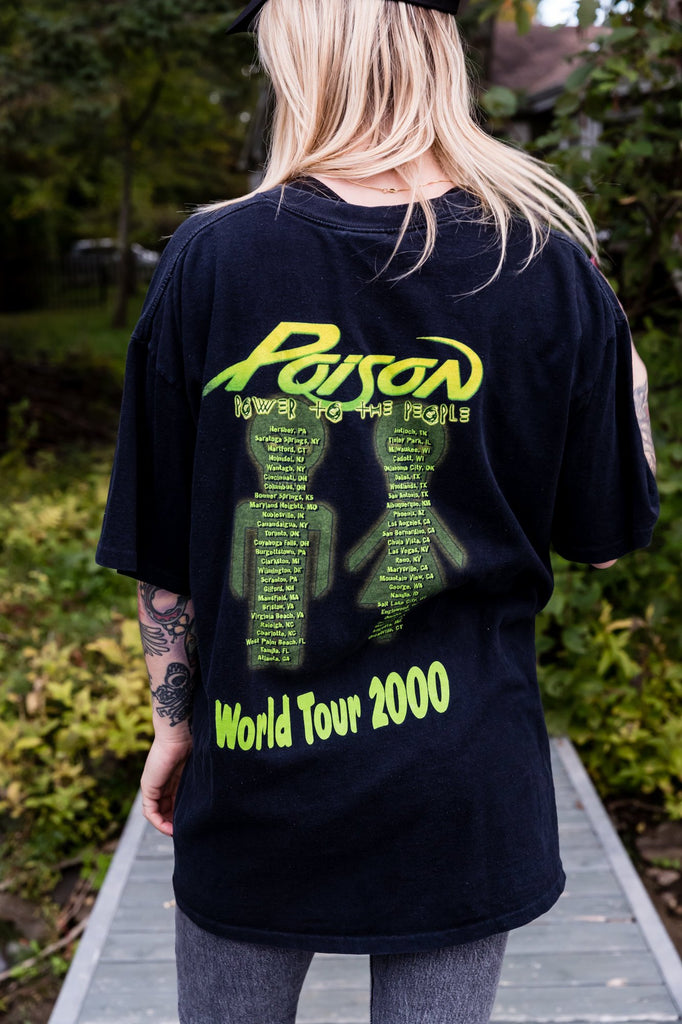 Y2K, Vintage, Poison, Power To the People World Tour 2000, Single Stitch, T-shirt, (Men's XL)