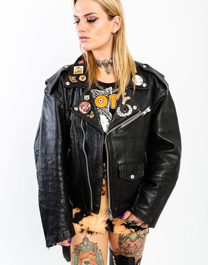 Customized & Reworked Leather Biker Jacket - Hand-painted, Vintage Pins, Motorhead Patch (Men's Large)