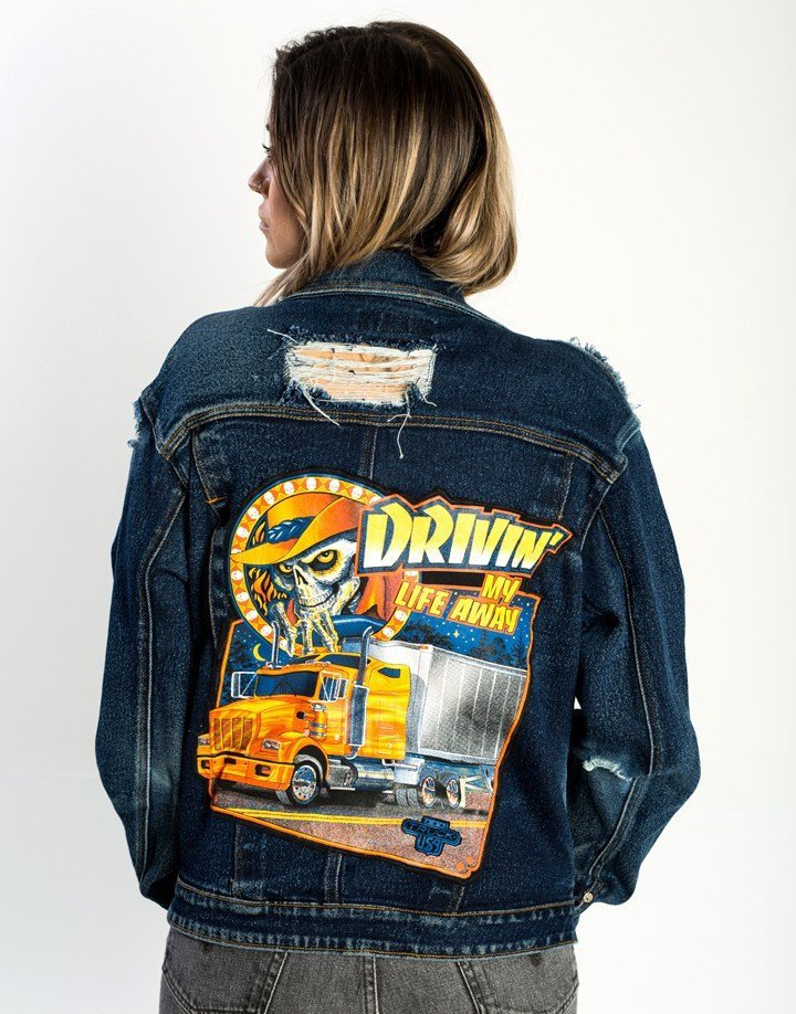 Hand made, Distress, Upcycled, Jean Jacket, Trucker skull Patch (women's Medium)