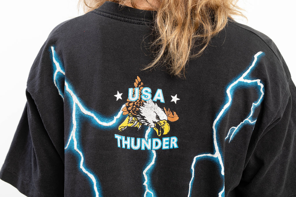 90's, Vintage, USA Thunder, Electric, American Native, wolf, eagle, totem, Single stitch T Shirt (Men's Medium/Large)