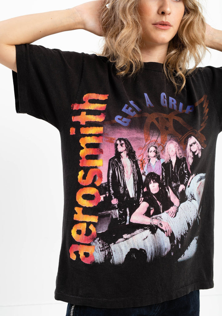 90's, Vintage, Aerosmith, Get A Grip, World Tour 94' Single Stitch T-shirt (Men's Medium)