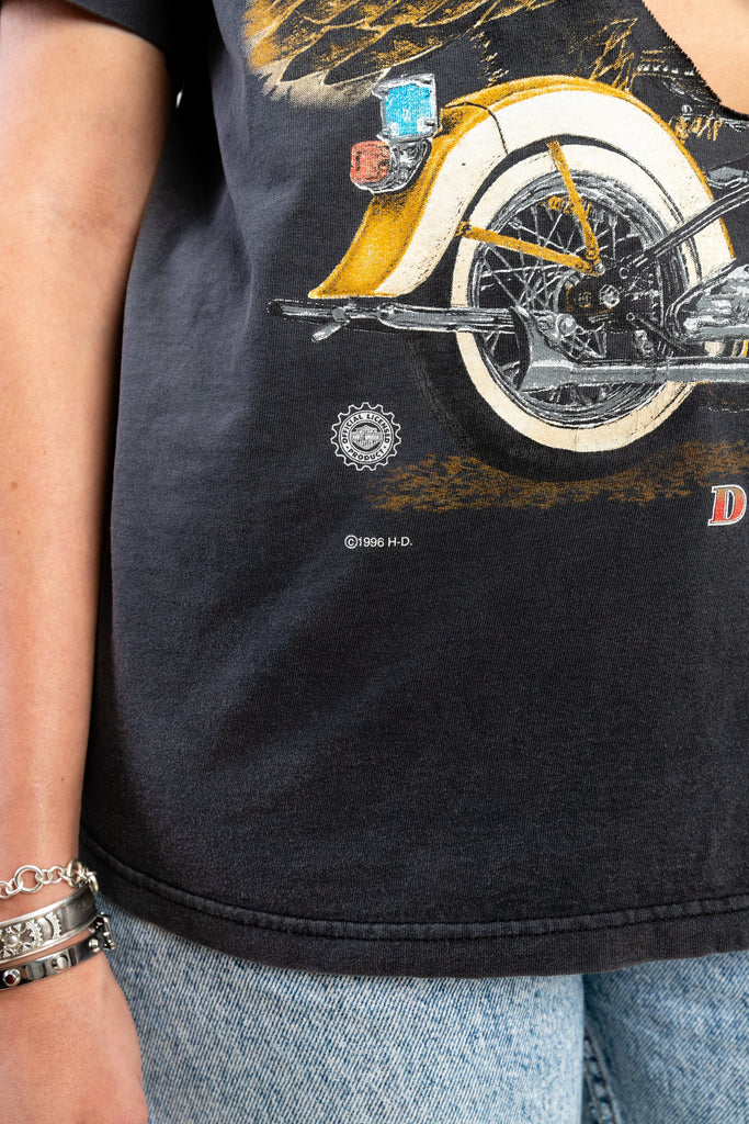 90's, Vintage, Harley Davidson, Deep V, Cut Off, Trash, Single Stitch, T-Shirt, (Men's Medium)