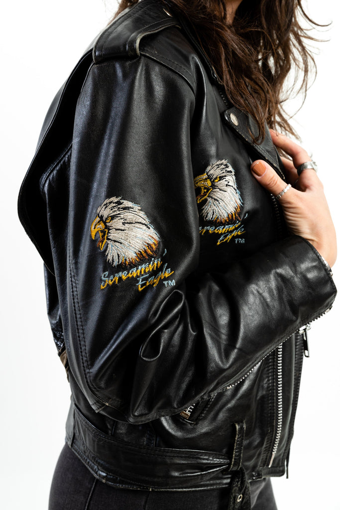 80's, Vintage, Harley-Davidson, Screaming Eagle, Leather, Jacket, (Men's Medium)
