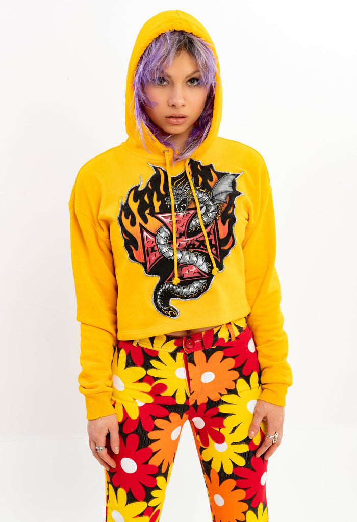WIDOW'S BLOW MADE, Flaming Dragon Patch on Crop Yellow Hoodie, (women's Medium or O/S)