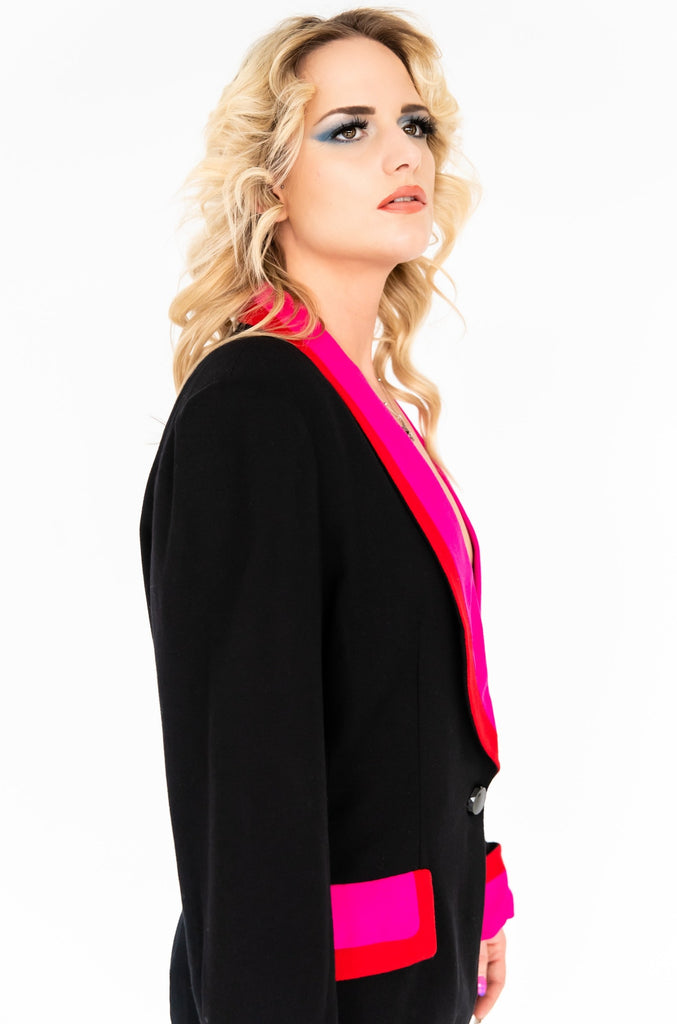 1980's Color Blocking Structured Long Blazer Jacket