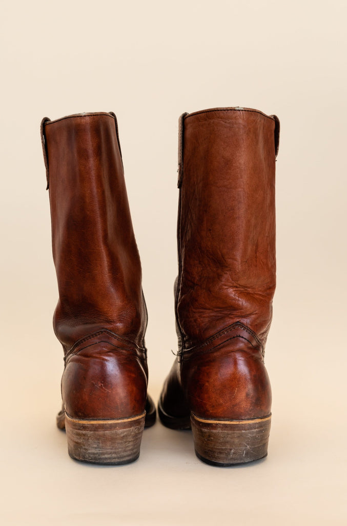1980's Saddle Brown Rancher Boots Made In Canada