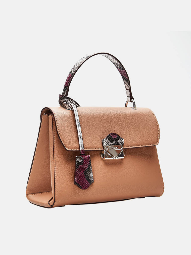 SUSEN Lady Purse Push Lock Metallic Top Handle Bag Pink | SUSEN-www.susen.com