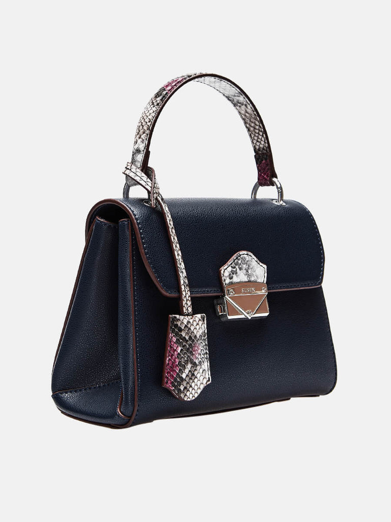 SUSEN Lady Purse Push Lock Metallic Top Handle Bag Black | SUSEN-www.susen.com