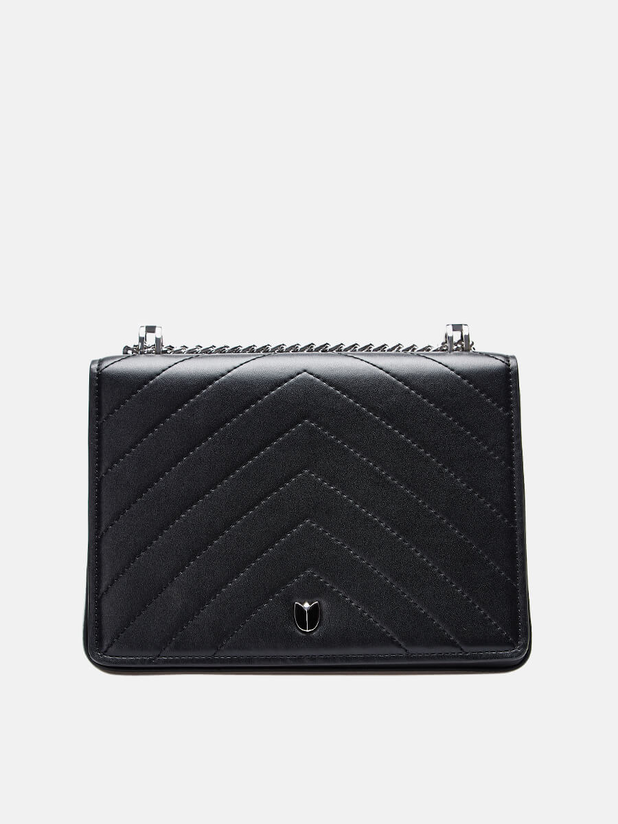 SUSEN Lady Small Classic Clutch Crossbody Bag With Chain Strap Black|SUSEN-www.susen.com