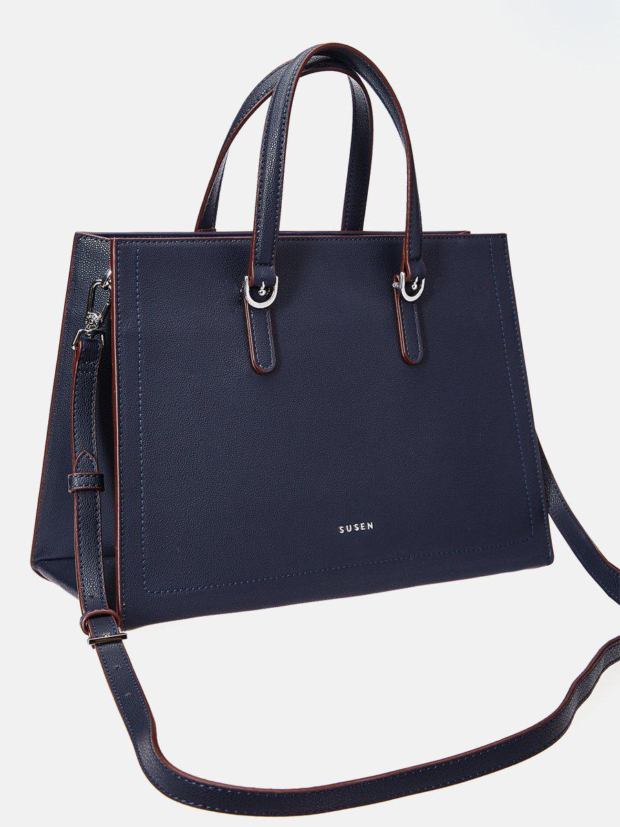SUSEN Classic Medium Tote Bag - Dark Blue-www.susen.com