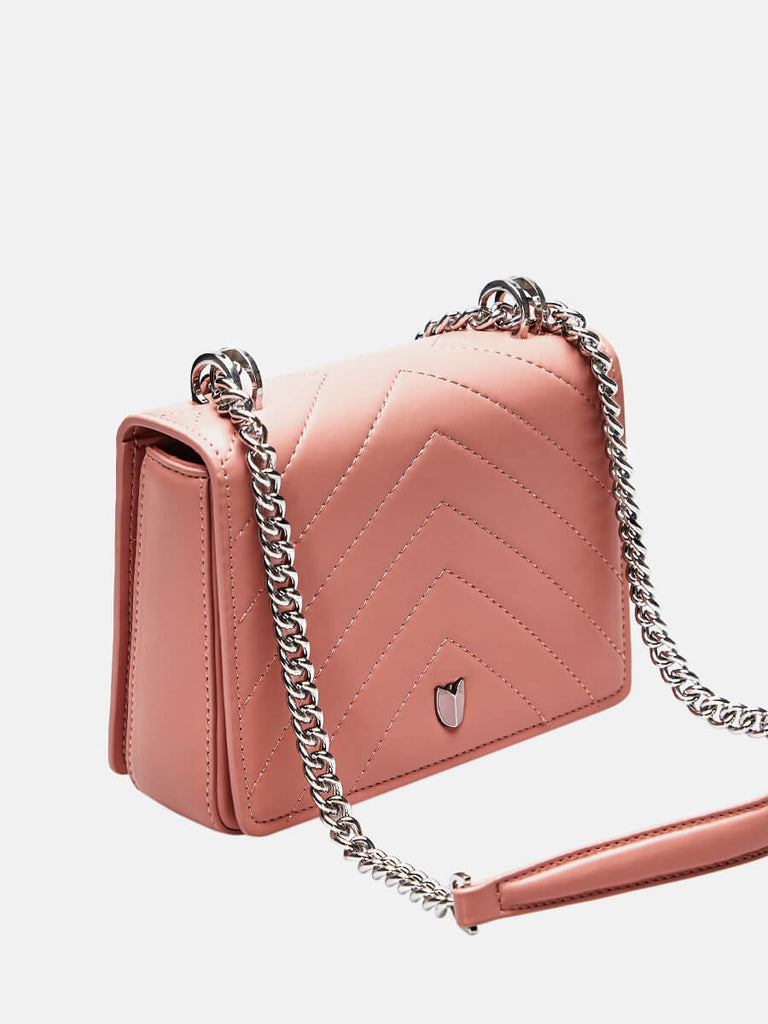 SUSEN Lady Small Classic Clutch Crossbody Bag With Chain Strap Pink|SUSEN-www.susen.com
