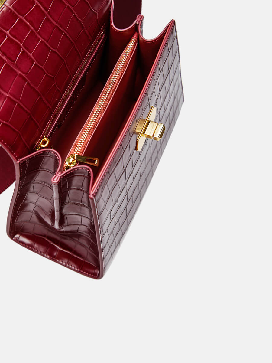 SUSEN Classic Ring Lock Top Handle Bag Wine Red | SUSEN-www.susen.com