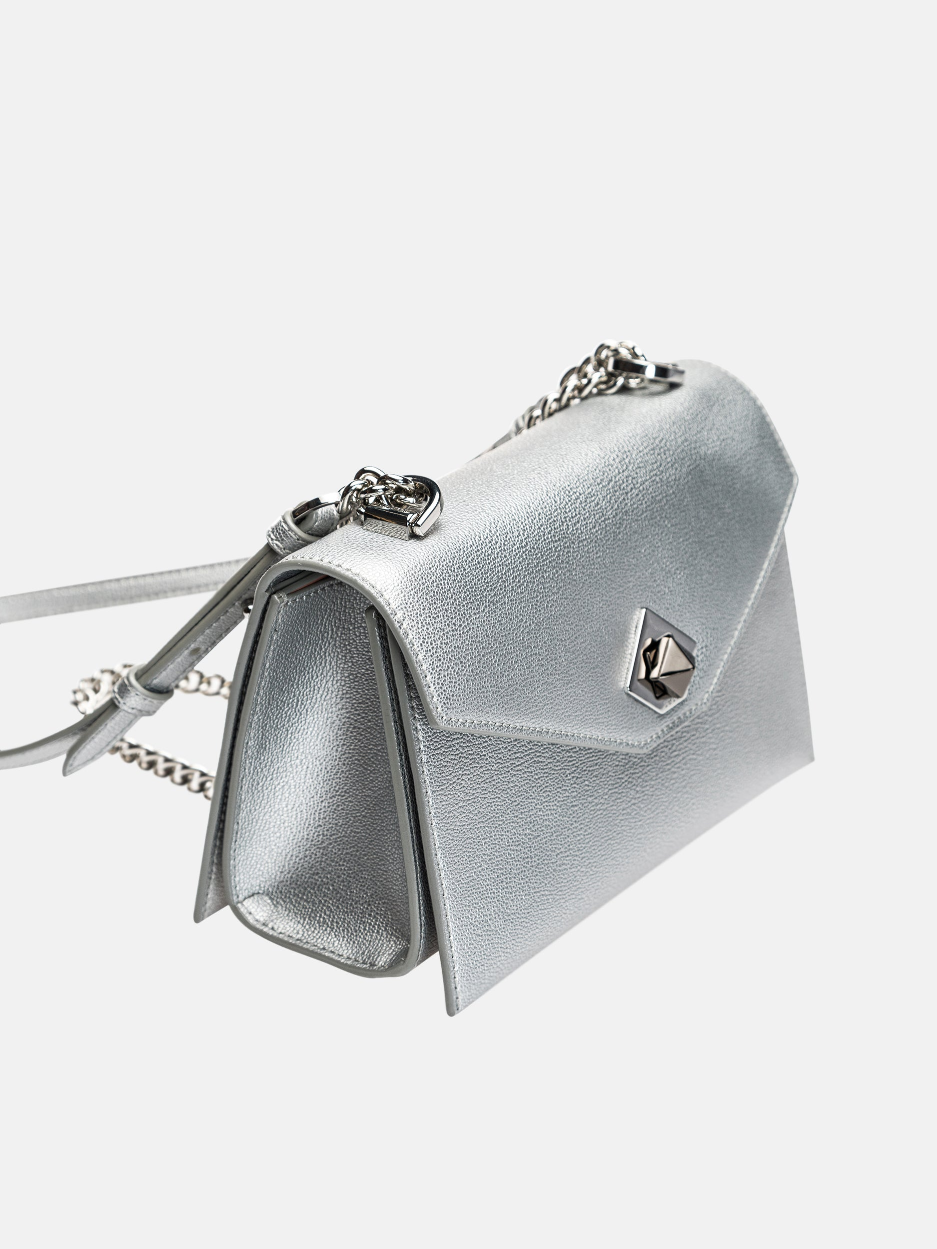 Black Diamond Flip Baguette Bag - Silvery