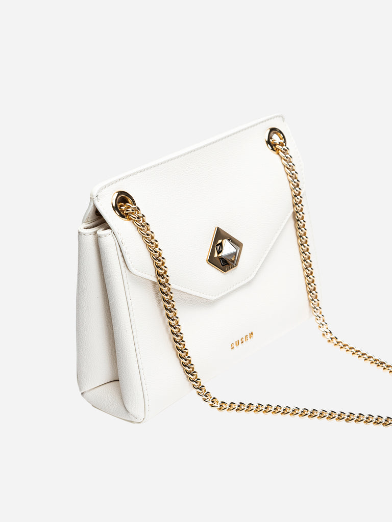 Black Diamond Flip Shoulder Bag - White