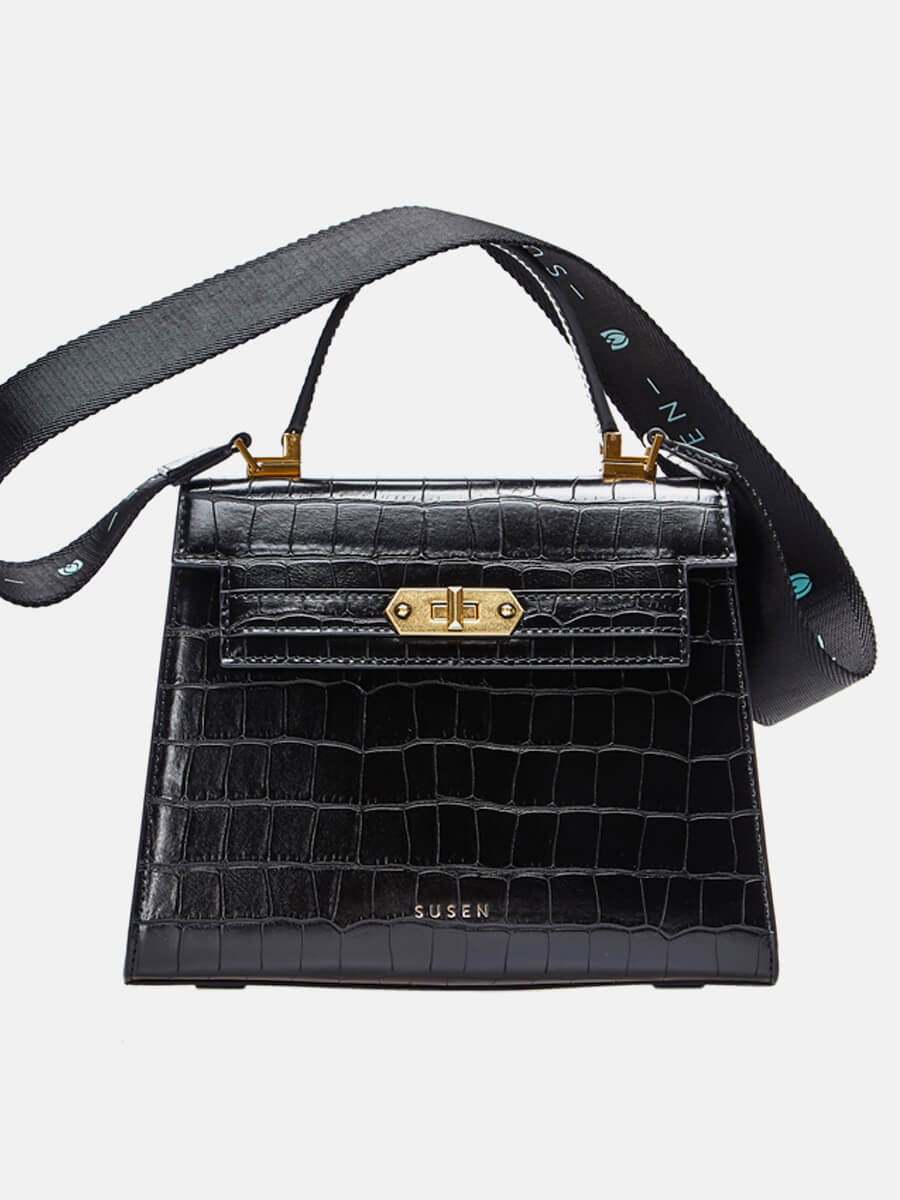 SUSEN Classic Ring Lock Top Handle Bag Black | SUSEN-www.susen.com