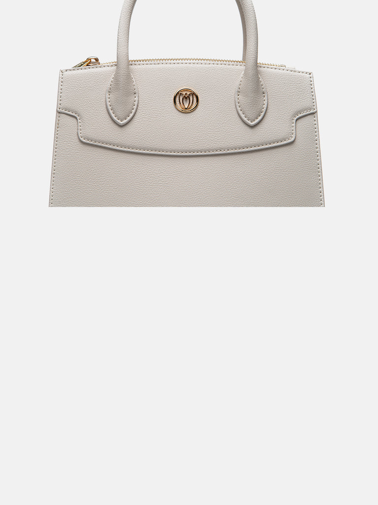 Medium Round Lotus Top Handle Bag - Beige