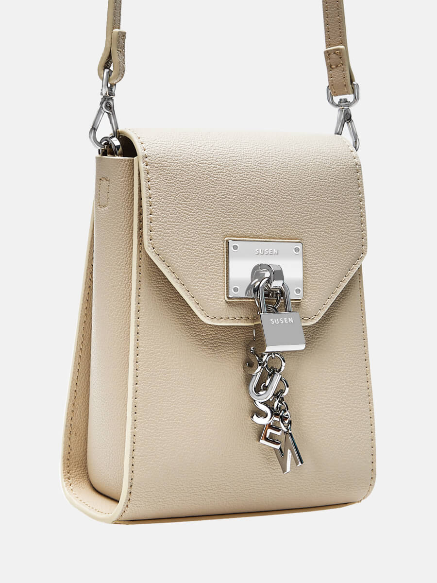 SUSEN Women mini Crossbody Purse Flap Satchel Handbag Beige| SUSEN-www.susen.com