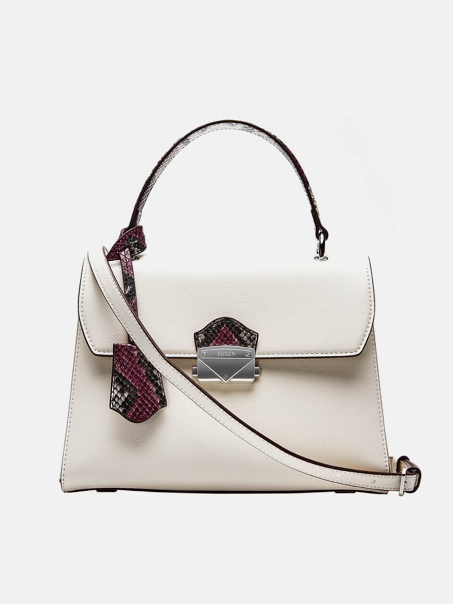 SUSEN Lady Purse Push Lock Metallic Top Handle Bag White | SUSEN-www.susen.com
