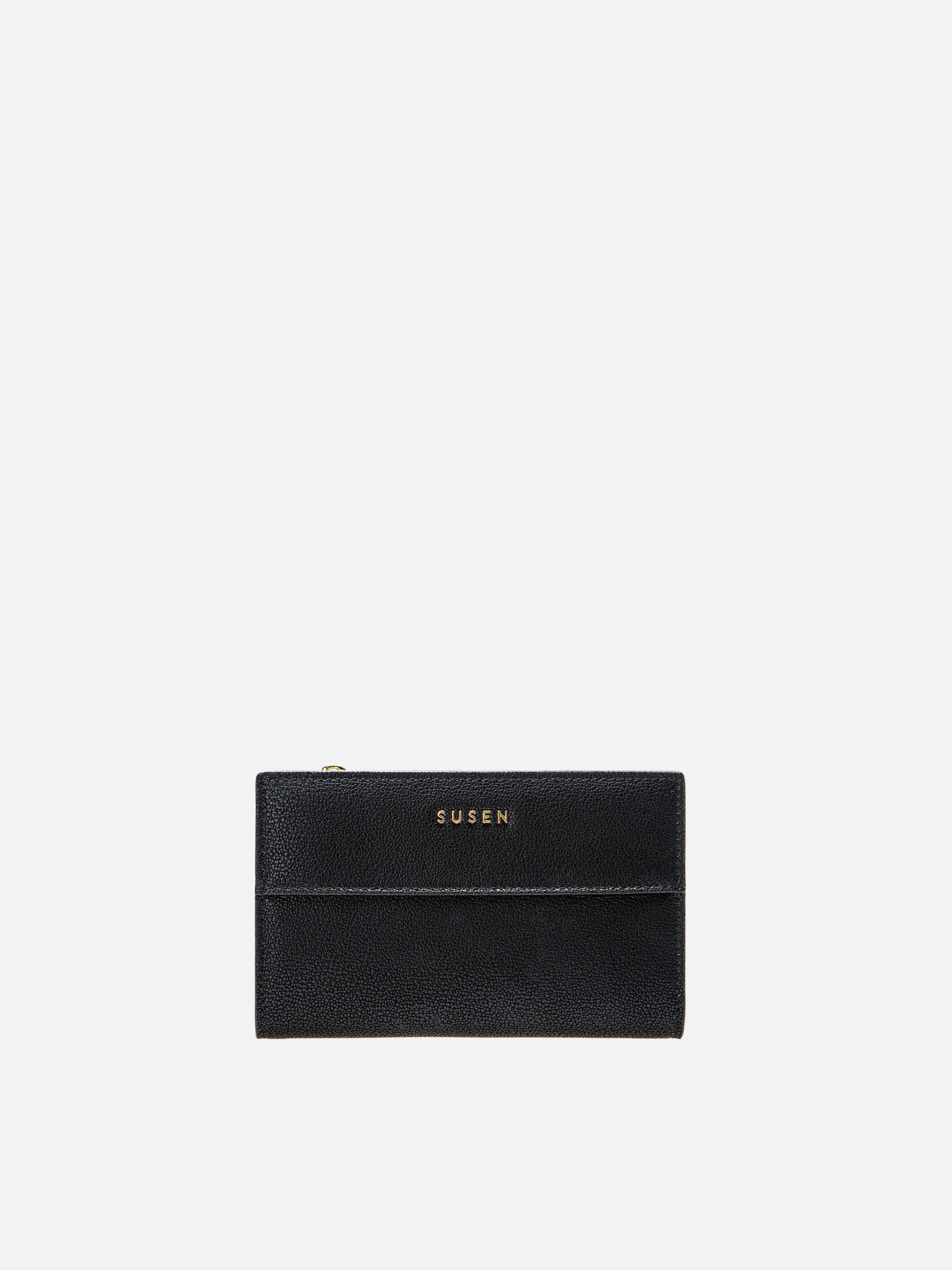 Short Leather Wallets Checkbook Wallet - Black
