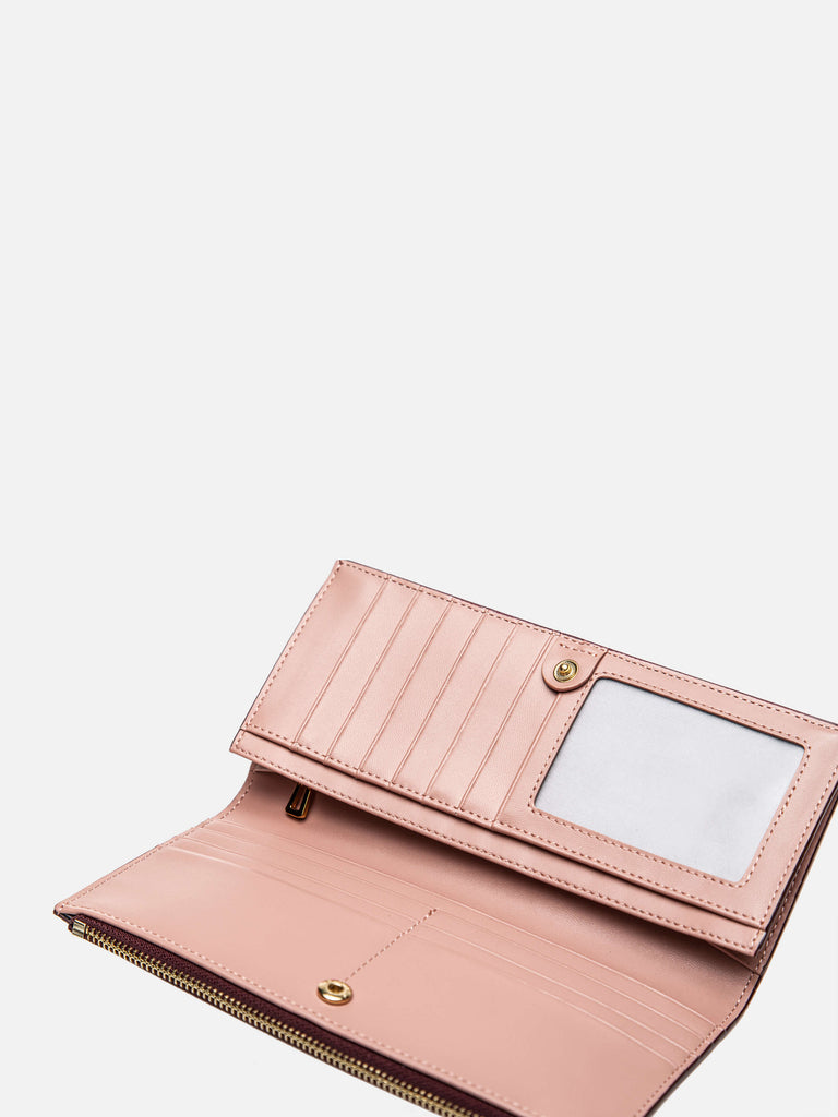 Leather Wallets Checkbook Wallet with 21 Card Slots - Soft Pink